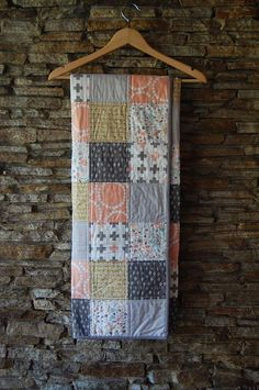 We combined this fabulous floral print from Hawthorne Threads with modern prints in peach, gold and stone making this a beautiful quilt for a special