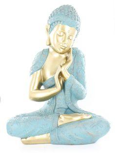 Amazon.com - Hacer la siesta Estatua de Buda de plata de la buena suerte Estatua Asiática oriental Escultura Tabla Art Decor D16113 -