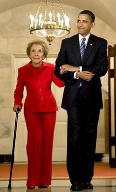 President Obama with former First Lady Nancy Reagan. The President mentioned his admiration of her husband during the campaigns. I still think she voted for him in 2012.