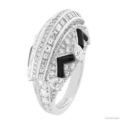 Van Cleef & Arpels Plaza Art Deco ring in white gold with onyx and round, baguette-cut and pear-shaped diamonds