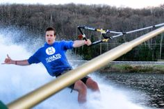 Our friend Mr. Waites enjoying the lake lifestyle with an early Barefoot ski this spring, smart guy keeping warm with a #TEAMLTD hoodie! #LakeLife #LifeOfAWaterskier