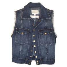 Pre-Owned current/elliott Sleeveless Dark Denim Vest Womens Jean... (315 BRL) ❤ liked on Polyvore featuring outerwear, vests, jackets, tops, denim jackets, black, jean jacket and denim jacket