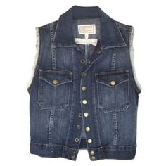 Pre-Owned current/elliott Sleeveless Dark Denim Vest Womens Jean... ($95) ❤ liked on Polyvore featuring outerwear, jackets, tops, vests, black, denim jacket and jean jacket