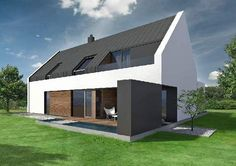 Side view of the house. The roof is covered with zinc-titanium sheets. Even though historical Modern Exterior, Interior Exterior, House Designs Ireland, Bungalow Extensions, Exterior Color Palette, Modern Barn House, Residential Architecture, Building Design, Home Fashion