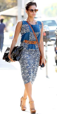 Eva Mendes - Look of the Day - InStyle    Mendes added warm leather accessories to her blue and white print dress for a Hollywood stroll.