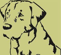 Labrador Retreiver Dog Head Stencil