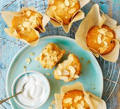 These simple gluten-free muffins are full to bursting with crunchy amaretti biscuits and creamy Greek yogurt for a light-textured sponge. Perfect with a cuppa Gluten Free Muffins, Gluten Free Cakes, Gluten Free Baking, Gluten Free Recipes, Muffin Recipes, Baking Recipes, Amaretti Biscuits, English Biscuits, Baking Tins