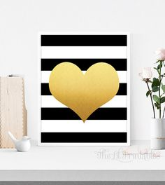❣ Please check our announcements tab for coupon codes! ❣  Black and White Strip Faux Gold Foil Heart Printable  ❥ No physical item will be