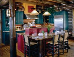 Walloon Lodge - Custom handcrafted log homes by Maple Island Log Homes Log Home Kitchens, Cool Kitchens, Rustic Kitchens, Timber Frame Homes, Timber House, Rustic Western Decor, Kitchen Size, Log Homes, Home Projects