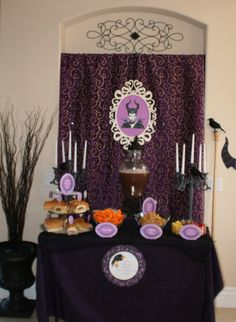 Maleficent Party - Cheese Puffs were 'Dragon Puffs,' Bugles were 'Maleficent's Horns,' Sleeping Spell Punch, and Roasted Raven Subs were served #Maleficent  #Halloween