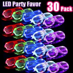 24 Bulk LED Glasses Party Favors for Kids Adults LED Light Up Toys Glow in the Dark Party Supplies Set Rave Flashing Glasses Holiday Birthday LED Sunglasses Neon Party Pack Dress-Up Accessories
