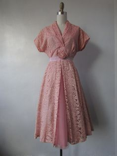1950's pink lace party dress // vintage 50's lace fit and flare dress // medium - large // Nancy by VivianVintage8 on Etsy