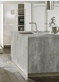 grifflose betonk che mit pultplatte als tresen toll dazu orangfarbene accessoires wie der. Black Bedroom Furniture Sets. Home Design Ideas