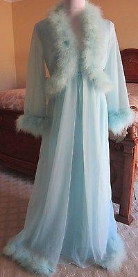 Vintage Sears Blue Chiffon Negligee and Feathered Peignoir Set 100% Nylon Sz 36