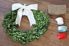 Boxwood wreath paired with accents for every season. Great gift for a friend, hostess or bride to be. Presentation ideas included.