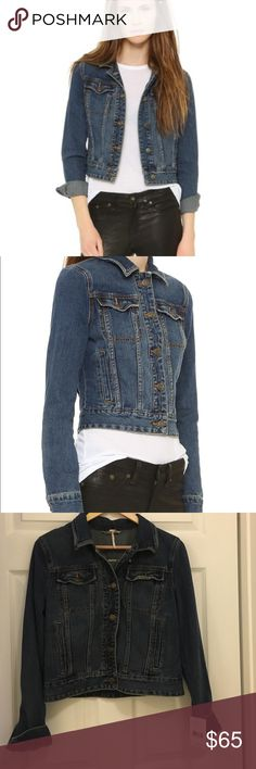Free People Denim Jacket Free People Women's Blue Fitted Denim Jacket 100% cotton. Front button closures. Button cuff sleeves. Flap and welt pockets. Color: Indigo Price Firm. Still for sale online for full price. Free People Jackets & Coats Jean Jackets
