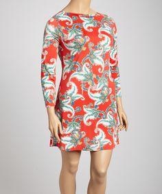 Loving this Ice Silk Red & Green Foliage Dress - Plus on #zulily! #zulilyfinds