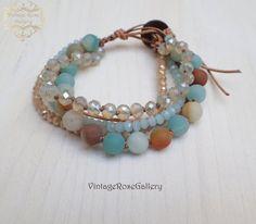 Boho Chic Leather Bracelet , #VintageRoseGallery #etsy Aqua Multi Strand Bracelet, Gemstones Boho Chic Bracelet by VintageRoseGallery