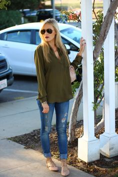 Lace Up Ballet Flats, Green Blouse, Fall Outfit | Thanksgiving Outfit | She Said He Said