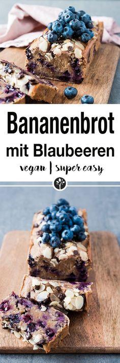 Super saftiges Bananenbrot mit Blaubeeren. Finde das ganze Rezept auf www.eat-vegan.de // #bananabread #baking #vegan #veganrecipe #bananenbrot #blaubeeren