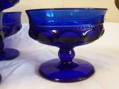 Items similar to 12 Vintage Cobalt King's Crown Sherbet Cups Colony Glass on Etsy Cobalt Glass, Cobalt Blue, Amber Glass, Fenton Glass, Glass Jug, Fancy Dishes, Vintage Dishware, Stained Glass Lamps, Blue Nails