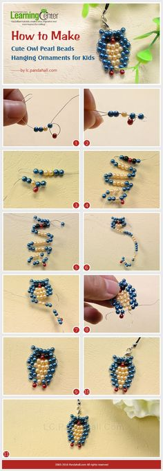 beaded animals How to Make Cute Owl Pearl Beads Hanging Ornaments for Kids Seed Bead Tutorials, Beading Tutorials, Wire Jewelry, Jewelry Crafts, Handmade Jewelry, Jewellery Box, Jewellery Shops, Flower Jewelry, Pandora Jewelry