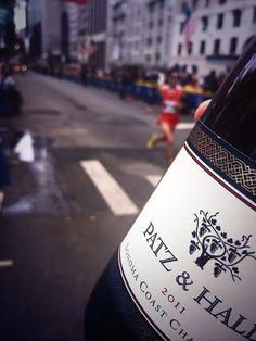 my sideline salute to all #marathon participants, using a winning #wine (Patz & Hall #Chardonnay)