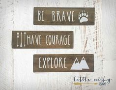 Be Brave, Have Courage, Explore >> Tribal Woodland Nursery Decor >> Rustic wood signs, Baby nursery SET OF - Baby Nursery Today Rustic Baby Nurseries, Rustic Nursery Decor, Baby Boy Nurseries, Baby Decor, Woodland Decor, Baby Nursery Sets, Baby Boy Rooms, Nursery Ideas, Toddler Rooms