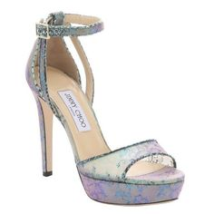 Jimmy Choo Aloe mix holographic lace 'Kayden' stiletto sandals (168.260 HUF) ❤ liked on Polyvore featuring shoes, sandals, high heel sandals, open toe platform sandals, heels stilettos, open toe sandals and holographic shoes