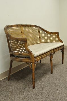 Vintage Faux Bamboo Hollywood Regency Chinese Chippendale Cane Settee  Loveseat