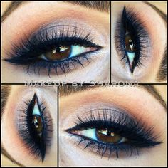 #nude #makeup with hints of dark navy #blue. shimmery cream to charcoal grey on the lid, warm brown above crease, winged liner. @Sharon Lefkowitz Usher