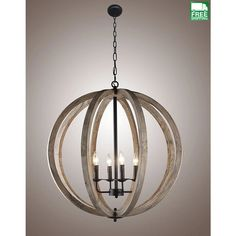 This Candle-Style Wood Frame Orb Foyer Chandelier is a comforting presence in any room it is installed in. Farmhouse Chandelier, Chandelier Ceiling Lights, Vintage Chandelier, Pendant Chandelier, Chandeliers, Pendant Lights, Sphere Light Fixture, Orb Light, Pendant Light Fixtures