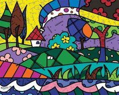 Landscape pop-art by Romero Britto Arte Pop, Art For Kids, Drawing For Kids, Paper Architecture, Perfect Day, Graffiti Painting, Art Deco Home, Arts Ed, Whimsical Art