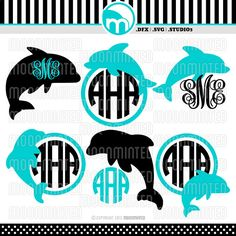 Dolphin Monogram Frames SVG / DXF / Studio3 Cut by MoonMinted