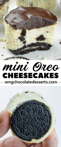 Mini Oreo Cheesecakes is simple and easy recipe with only a few ingredients for delicious bite-sized Oreo cheesecake with a thick layer of silky ganache on top.
