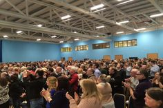 Over Labour Party members and supporters came to hear Jeremy Corbyn speak in Aberdare in South Wales today, Saturday. It was the biggest political meeting in the Valleys for a generation. Labour Party, Jeremy Corbyn, South Wales, Rally, Politics