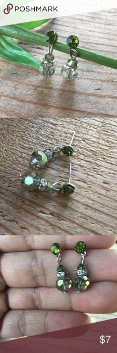 Green crystal earrings Green crystal earrings with rhinestones accents Jewelry Earrings