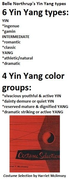 belle northrup (creator of yin yang types) and her yin yang type system are in harriet mcjimsey's books. northrup's 6 yin yang types = ingenue, gamin, romantic, classic, athletic/natural, dramatic. also: http://pinterest.com/pin/525021269029607512 http://pinterest.com/pin/525021269029607865 http://pinterest.com/pin/525021269029607997  http://pinterest.com/pin/525021269029608227