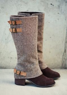 stretch tweed and leather buckles you could make this yourself. Sort of like a sock covering an old boot. If you wanted a more tailored look then just go with non-stretch tweed and sew to the shape of the boot.