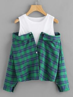 Shop Cold Shoulder Plaid Color Block Top at ROMWE, discover more fashion styles online. Teen Fashion Outfits, Cute Fashion, Trendy Outfits, Fall Outfits, Fashion Dresses, Cute Outfits, Mode Grunge, Crop Top Outfits, Trendy Tops
