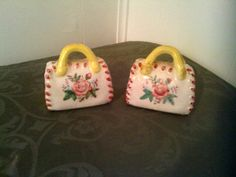 Collectible Vintage Yellow and Pink Purse Salt and Pepper Shakers by cappelloscreations, $18.00@Etsy