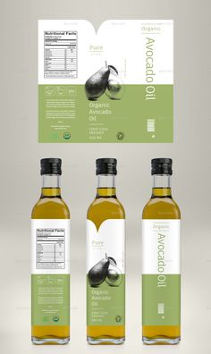 Avocado Oil, Coconut Oil & Almond Oil Label is part of Avocado Oil Benefits Healthier Than Coconut Oil Wellness Mama - Avocado Oil, Coconut Oil & Almond Oil Label Olive Oil Packaging, Organic Packaging, Bottle Packaging, Cake Packaging, Food Packaging Design, Packaging Design Inspiration, Olives, Avocado Oil Benefits, Product Label