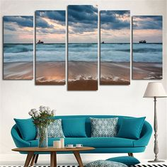 2016 Modular Pictures On The Wall Wall Art Painting Sea Beach Landscape Print Poster Canvas Home Decoration No Frame 5Planes