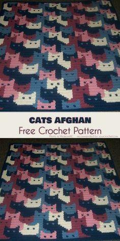 Cats Afghan Free Crochet Pattern | Your Crochet #freecrochetpatterns #catlovers #crochetblanket #babyblanket