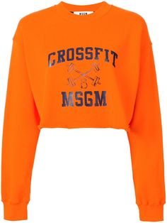 ¡Cómpralo ya!. MSGM - Cropped Sweatshirt - Women - Cotton - S. Orange cotton cropped sweatshirt from MSGM. Size: S. Color: Yellow/orange. Gender: Female. , topcorto, croptops, croptop, croptops, croptop, topcrop, topscrops, cropped, topbailarina, corto, camisolacorta, crop, croppedt-shirt, kurzestop, topcorto, topcourt, topcorto, cortos. Top corto  de mujer color naranja oscuro de MSGM.