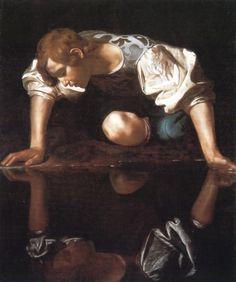 """Narcisse"" Caravaggio (Michelangelo Merisi) - huile sur toile - 110 x 92 cm… Chiaroscuro, Baroque Painting, Baroque Art, Italian Baroque, Italian Painters, Italian Artist, Tanz Poster, Michelangelo Caravaggio, Michelangelo Paintings"