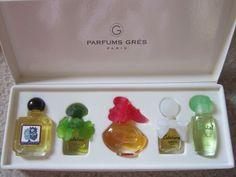 Miniature Perfume Bottles - Parfums Gres (EAU DE GRES; CABOTINE; FOLIE DOUCE; CABOCHARD; PASTEL).