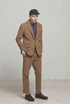Steven Alan Mens Fall 2013: Oliver Suit Jacket and Pant / Striped Reverse Seam Pocket Tee / Lightweight Gym Pullover / Piped Wedge Blucher