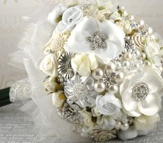 Brooch Bouquet White Cream Ivory Silver with by SolBijou on Etsy, $550.00