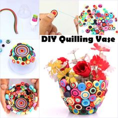 Quilling art is always fun because typically the DIY projects turn out to be so beautiful in the end. This DIY Quilling Vase is very easy to make simply take a paper or a plastic container as your mold and than stick with glue the pieces you have quilled around it. When your glue has fully dried, take out the container and you should have the quilling pieces now in the shape of a vase!